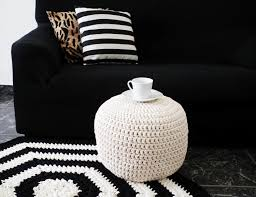 off white white knit floor pillow crochet pouf ottoman