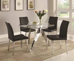 dining room magnificent round glass dining table set in chrome