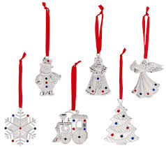 lenox set of 6 silver plated gem charm ornaments in gift