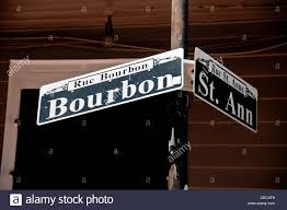 bourbon sign sign of bourbon in new orleans quarter stock