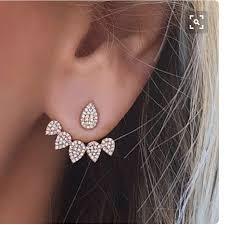 sided stud earrings korean jewelry new front back sided stud earrings