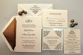 wedding invitation designs gold motif letterpress wedding invitation chic ink