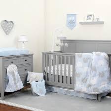 Grey Nursery Bedding Set Nojo The Dreamer Collection Elephant Blue Grey 8 Crib