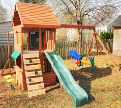 Lowes Swing Set Exterior Oak Wood Frame Cedar Summit Playset For Appealing