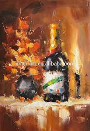 decorative home decor wine bottle still life dining room paintings