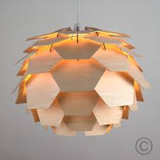modern wood artichoke style ceiling pendant light lamp shade