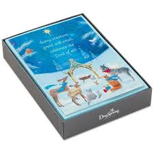 baby jesus with forest animals religious christmas cards box of