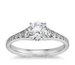 gold diamond engagement rings graduated pavé diamond engagement ring in 14k white gold 1 3 ct