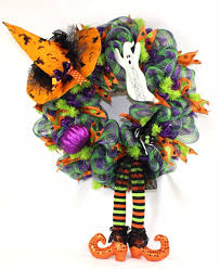 mesh halloween wreaths happy halloween trick or treat witches hat w ghost deco mesh