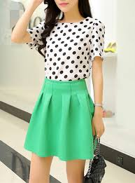 skirt and blouse two skirt and blouse green skirt black and white polka