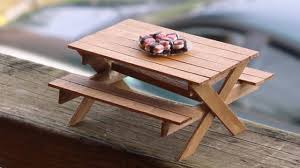 diy picnic table and bench made out of popsicle sticks dollhouse