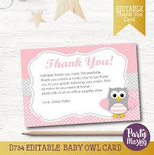 thank you card for baby shower owl thank you note editable printable cards printable pink owl