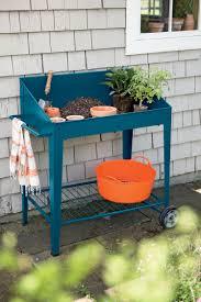 demeter metal potting bench with wheels mobile potting bench