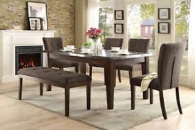 marble top dining table set sleek dining table w faux stone marble top dining chairs bench