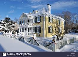 historic house in falmouth cape cod decorated for christmas with