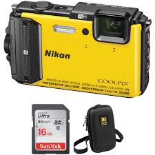 Rugged Point And Shoot Cameras Coolpix Aw130 Waterproof Digital Camera Basic Kit Yellow