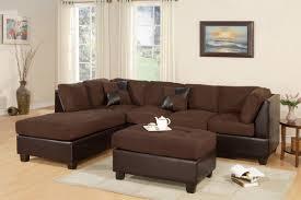 Small Brown Sectional Sofa Bobkona 3 Seat Sofa Sectional W Ottoman Chocolate