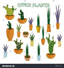 set office plants isolated vector flat stock vector 449383348