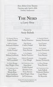 ann arbor civic theatre program the nerd april 06 2006 ann