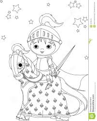 the brave knight on the horse coloring page royalty free stock