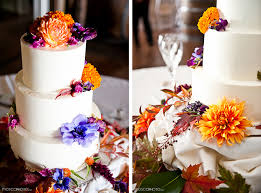 wedding cake colorful flowers