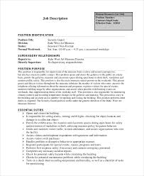 security guard job description noc duties revised fees for fire