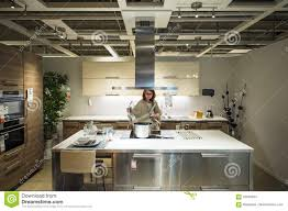modern luxury kitchen woman buying modern luxury kitchen editorial stock image image