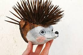 paper mache hedgehog head papercraft hedgehog wall decor kids