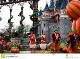 donald duck and daisy during halloween celebrations at disneyland