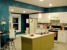 beautiful color scheme for modern kitchen blue pattern painted