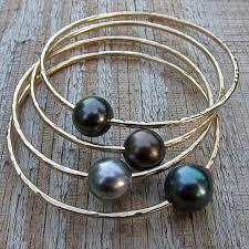black pearl bracelet jewelry images Tahitian pearl bangle gold hammered bracelet hawaii beach jpg