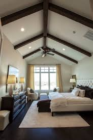 vaulted ceiling beams exposed wood beams transitional bedroom southern living