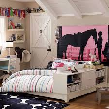 Small Teenage Bedroom Decorated With Paisley Wallpaper And by Sporty Teenage Bedroom With Wall Poster And Bed With Storage