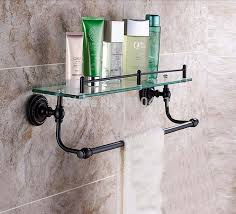 Bathroom Glass Shelves With Towel Bar Bathroom Shelf With Towel Bar Rubbed Bronze Thedancingparent