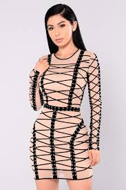 Katrina Model Com by Mesh Dress Taupe