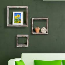 3 brown square floating torched wood finish wall mounted shelves