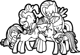 my little pony friendship group hug coloring page wecoloringpage