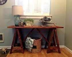 Diy Sawhorse Desk by Blue Roof Cabin Diy Sawhorse Console Table