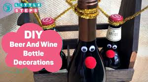 how to make a wine bottle l diy christmas gift idea reindeer beer and wine bottle decor youtube
