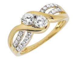 gold promise rings 10k yellow gold two promise ring genuine diamond engagement