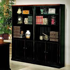 furniture large black wood bookshelves with doors fabulous