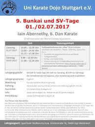 Baden Englisch Karate Event De 9 Bunkailehrgang Und Sv Tag Mit Iain Abernethy