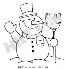 snowman clipart 77126 black white coloring outline