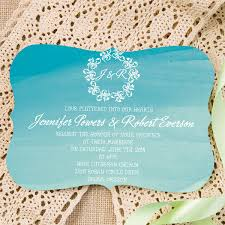 summer wedding invitations ombre blue bracket shaped watercolor wedding invitations for