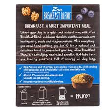 zen breakfast blend chocolate blueberry walnut breakfast smoothie