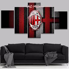 Home Decoration Online Shop Online Shop 5 Pieces Ac Milan Football Wall Art Picture Modern
