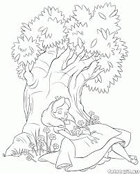 coloring page alice had fallen asleep under the tree