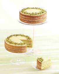 sicilian pistachio cake with lemon syrup and white chocolate ganache