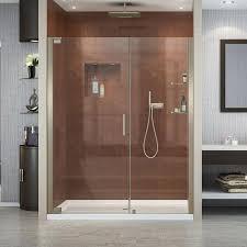 Acrylic Shower Doors by Shop Dreamline Elegance Brushed Nickel Acrylic Floor 2 Piece