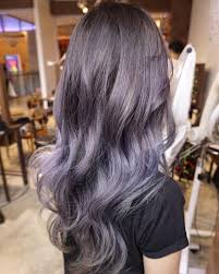 shag haircut brown hair with lavender grey streaks soft romantic shades of lilac beautifully blended with platinum